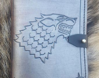 Dire Wolf Leather Notepad - Game Of Thrones ~ Handmade Journal Book, for Gaming or Everyday Use