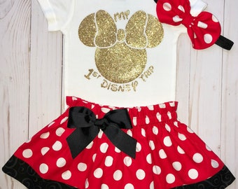 My 1st Disney Trip Outfit, Minnie Mouse girl Onesie, Knot Bow Headband, Complete Onesie Skirt Set, First Disney Visit, Mouse Ears, Glitter