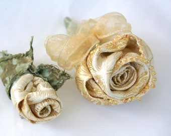 Corsage Boutonniere Set Cream Rose, Golden Cream Rose for Golden 50th Anniversary, Eco Friendly Wedding, Prom Set, Bridal Party Gift