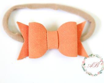 Orange Bow Headband - Suede Bow Headband - Baby Bow Headband - Nylon Headband - Orange Suede Bow Headband