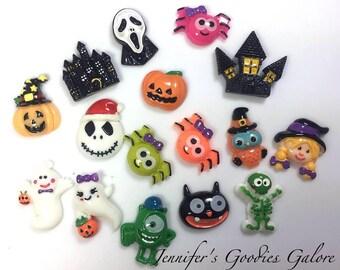 GRAB BAG, Halloween Resins, Witch, Pumpkins, Cats, Ghost, Spider, Skeleton, MIX of Resins, Wholesale Resins, 10PCS