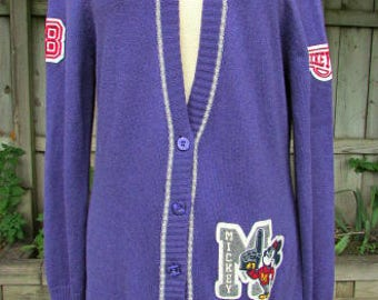 vintage disneyland mickey university cardigan sweater m/l cool letterman patches  mickey mouse