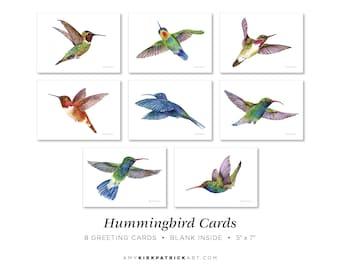 Hummingbird Greeting Cards Pack of 8, 5x7, Blank Inside, Hummingbird Note Cards, Watercolor Hummingbird Cards, 8 Different Hummingbird Cards