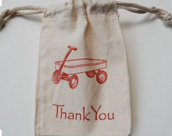 Red Wagon Muslin Bags / Set of 15 / Birthday Party Favor Bag