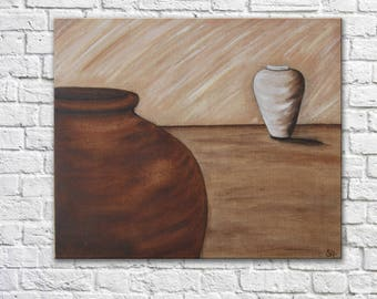 """Zen painting on canvas """"vases"""" yin yang colors trend natural indoor outdoor paint hygge"""