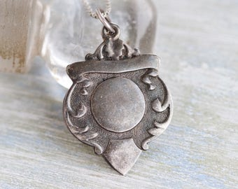 Watch Fob Necklace - Sterling Silver Antique Medallion on Chain - Gothic Voctoriana