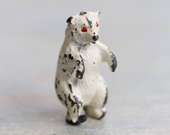 Tiny lead Polar Bear - Antique Iron Cast Wild Animal Toy Figurine