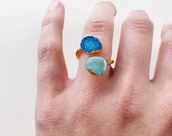 Turquoise & Druzy Ring || Statement Ring, Double Stone Ring, Gold Ring