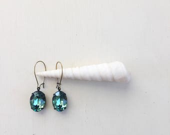 Alexandra Earrings in Erinite Green ||Swarovski Crystal Earrings, Oxidized Brass Earrings, Kidney Ear Wires, Estate Earrings