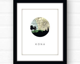 Kona Hawaii art print | Hawaii decor | Hawaii map art | Hawaii wall art | Hawaii print | city skyline art | travel souvenir | travel poster