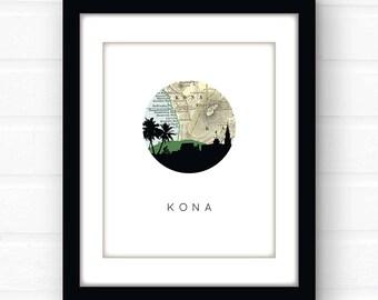 Kona Hawaii art print | Hawaii decor | Hawaii map art | Hawaii wall art | Hawaii print | city skyline art | travel souvenir | travel poster