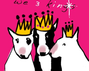 English Bull Terrier Christmas We 3 Kings Cards Pack of 5