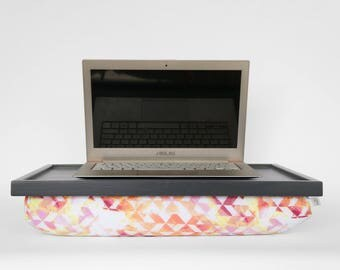 Laptop stand, laptop tray with beanbag pillow, Serving tray- dark grey tray, geometric print pillow