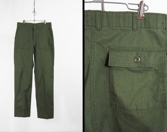 Vintage US Army Pants Green Military Utility Trousers Cotton OG 507 - 33 x 33