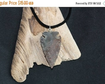 Inventory Reduction Sale Arrowhead Pendant on 18 inch Flocked Necklace - Item 1446