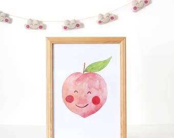 Nursery Print Peach, Nursery Decor, Kawaii Peach Print, Fruit Print, Nursery Print Fruit