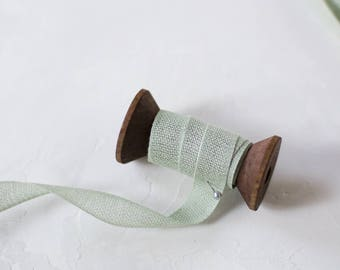 """Sage Green Loose Weave Cotton Ribbon (with Wooden Spool) - 5 yards - 1/2"""" wide"""