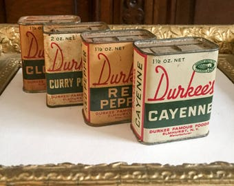 Vintage Durkee's Spice Tins (Cayenne, Red Pepper, Curry Powder, Cloves)