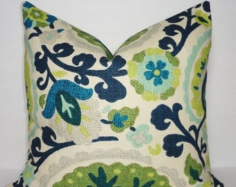FALL is COMING SALE Kas Richloom Cavallo Bluebird Green Suzani Pillow Cover Linen/Flax Decorative Pillow Cover 18x18