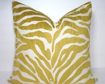 SPRING FORWARD SALE Gold Zebra Pillow Cover Throw Pillow Decorative Citrine & Ivory Flocked Zebra Print Pillow Cover Size 18x18