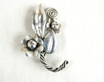 Flower Bouquet Brooch Vintage Sterling Silver Pin Flowers Antique Handmade Jewelry