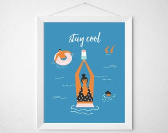Summer Quote Print - Stay Cool - mid century modern palm springs pool tropical ice cream bar beach poster wall art deco blue retro vintage