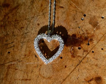 White Gold and Diamonds Heart Pendant Necklace 14K