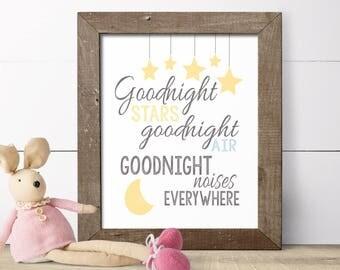 Childrens Art - Nursery Wall Art - Baby Boy Nursery - Baby Girl Nursery - Moon Nursery - Goodnight Moon -  Moon Art Print - Art For Kids