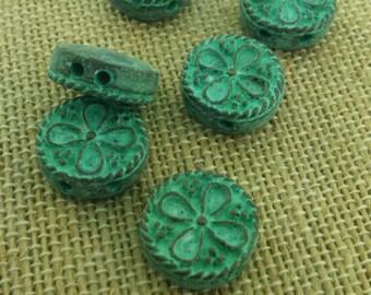 Two hole patina beads