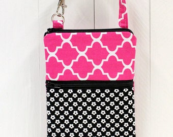 SALE - Attachable Pouch - Cell Phone Pouch - 2 Zippered Pockets - Camera Case - Padded - READY to SHIP