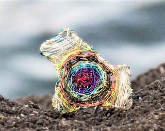 Maze ring Art Ring Wire ring Labyrinth jewelry Rainbow ring Adjustable ring Silver ring Boho jewelry Summer gift for women Sculptural ring