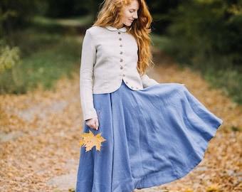 Classic Skirt, Midi Skirt, Loose Skirt, Gray Linen Skirt, Swing Skirt, Retro Skirt, Bohemian Skirt, Country Skirt / Grey Dandelion Skirt