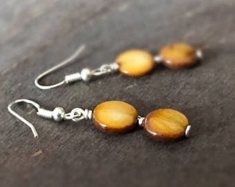 Brown Earrings - Shell Gemstone Jewelry - Sterling Silver Jewellery - Beaded - Fashion - Chic