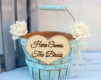 ON SALE Flower Girl Basket Paper Roses Rustic Shabby Chic Wedding (Your CHOICE of Color)