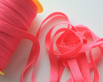 """3/8"""" Polyester Twill Tape - Bright Pink - 5 yards"""