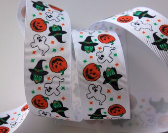 "1 1/2"" Halloween Ghost and Pumpkin Grosgrain Ribbon"