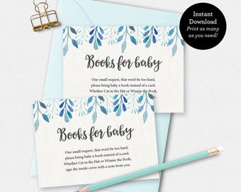 Printable books for baby card, baby shower games, boy book card, floral books for baby card, baby book card, 3.5 x 2.5 inch, bring a book
