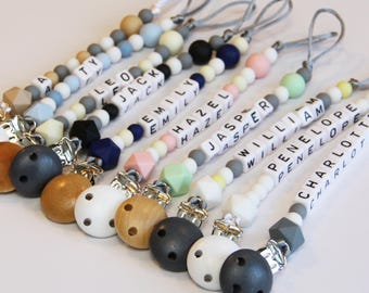 Personalised Baby Dummy Clip - Pacifier Clip - Custom Bead Dummy Chain - Silicone Beads - Hexagon - Up to 10 letters - Australia