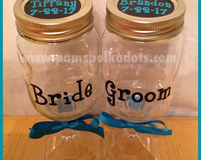 Free Shipping on REDNECK WINE GLASSES Set for Bride & Groom with Wedding Date Two Mason Jar glasses