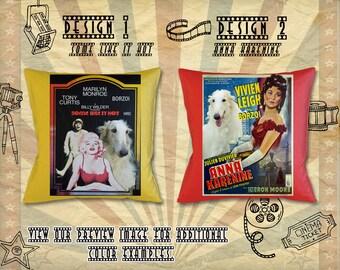 Borzoi Pillow/Russian Wolfhound/Borzoi Portrait/Borzoi Art/Personalized Dog/Custom Dog Portrait/Movie Poster/Anna Karenine/Some Like It Hot