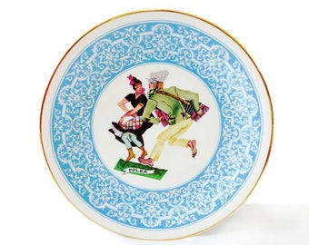 """Walbrzych Poland Polka Plate Charger Man Woman Dancing Playing Accordion Squeezebox Large Wall Plate 12.5"""" Wide Blue Border Polska Wakbrzych"""
