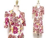 Vintage 1940s Dress Set | Neon Pink Floral Print 1940s Rayon Jersey Dress | size small
