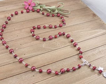 """Cranberry Freshwater Pearl Garnet Sterling Silver Long Wrap Necklace, 36"""" with PMC Metal Clay Charms"""