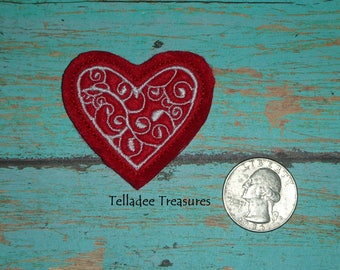 Heart Feltie -Small red felt - Great for Hair Bows, Reels, Clips and Crafts - Valentine Love