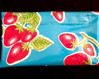 Strawberry oilcloth case, mini size