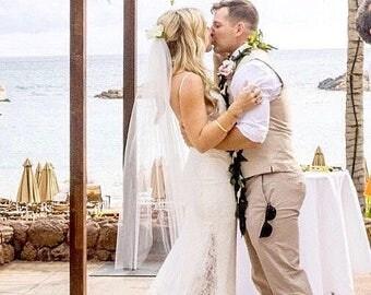 Short wedding veil fingertip bridal veil fingertip length veil