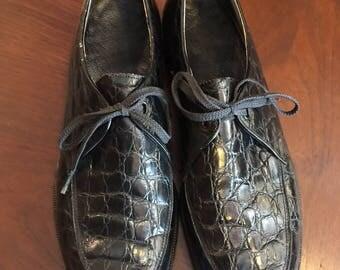 Vintage NETTLETON Mens Black Alligator Shoes Lace Up 9-9 1/2 Dress Shoe