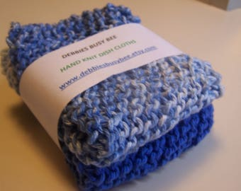 Hand Knit Dish Cloths,  Medium Blue, Set of 2