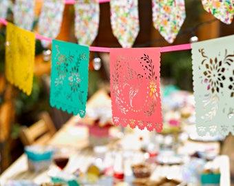 Papel Picado, Mexican fiesta banner,floral, fiesta birthday, Mexican paper- garland- fiesta decorations- floral banner- fiesta bridal shower