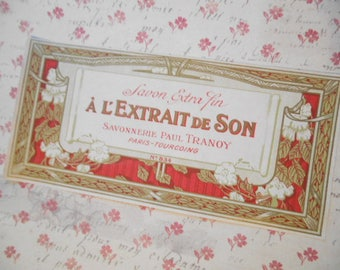 1930s Paul Tranoy Edwardian French Soap  Label NOS Dogwood Flowers